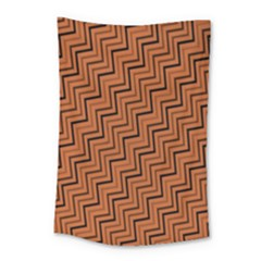 Brown Zig Zag Background Small Tapestry