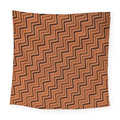 Brown Zig Zag Background Square Tapestry (large)