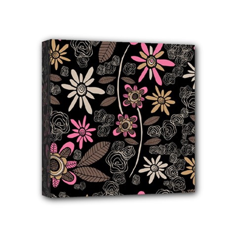 Flower Art Pattern Mini Canvas 4  X 4  by BangZart