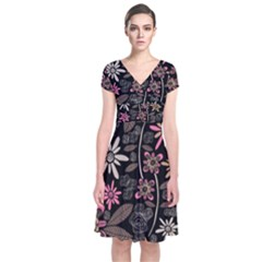 Flower Art Pattern Short Sleeve Front Wrap Dress