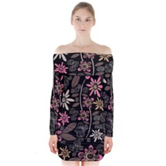 Flower Art Pattern Long Sleeve Off Shoulder Dress