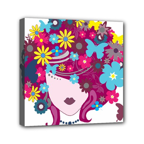 Beautiful Gothic Woman With Flowers And Butterflies Hair Clipart Mini Canvas 6  X 6  by BangZart