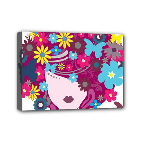 Beautiful Gothic Woman With Flowers And Butterflies Hair Clipart Mini Canvas 7  X 5