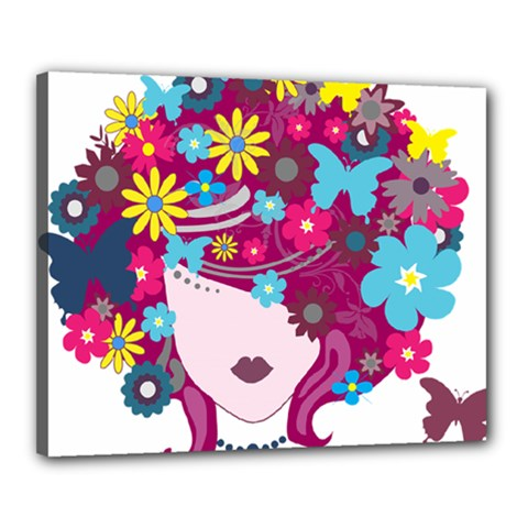 Beautiful Gothic Woman With Flowers And Butterflies Hair Clipart Canvas 20  X 16