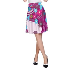 Beautiful Gothic Woman With Flowers And Butterflies Hair Clipart A Line Skirt