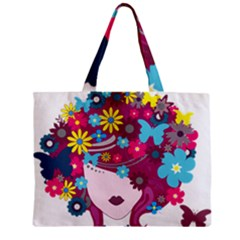 Beautiful Gothic Woman With Flowers And Butterflies Hair Clipart Zipper Mini Tote Bag by BangZart