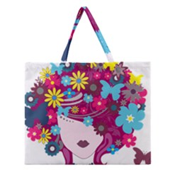 Beautiful Gothic Woman With Flowers And Butterflies Hair Clipart Zipper Large Tote Bag by BangZart