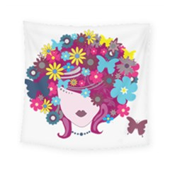 Beautiful Gothic Woman With Flowers And Butterflies Hair Clipart Square Tapestry (small)
