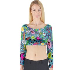Monster Party Pattern Long Sleeve Crop Top