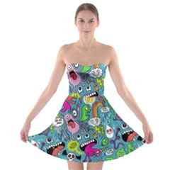 Monster Party Pattern Strapless Bra Top Dress