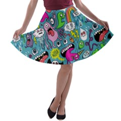 Monster Party Pattern A Line Skater Skirt