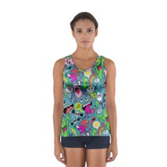 Monster Party Pattern Women s Sport Tank Top