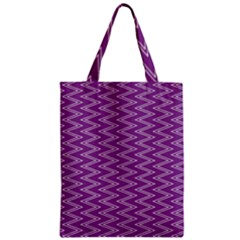 Zig Zag Background Purple Zipper Classic Tote Bag by BangZart