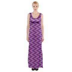 Zig Zag Background Purple Maxi Thigh Split Dress
