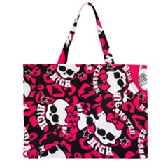Mattel Monster Pattern Zipper Large Tote Bag by BangZart