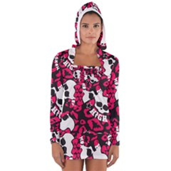 Mattel Monster Pattern Women s Long Sleeve Hooded T Shirt