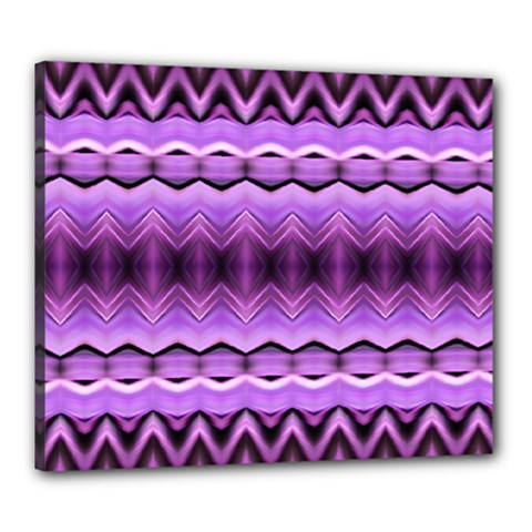 Purple Pink Zig Zag Pattern Canvas 24  X 20