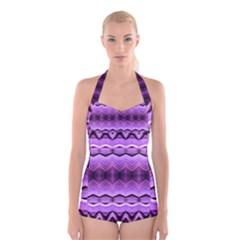 Purple Pink Zig Zag Pattern Boyleg Halter Swimsuit