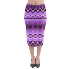 Purple Pink Zig Zag Pattern Midi Pencil Skirt
