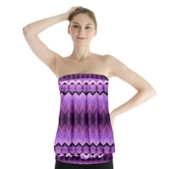 Purple Pink Zig Zag Pattern Strapless Top