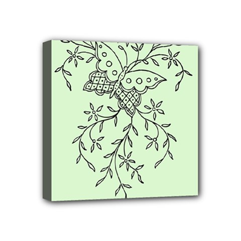 Illustration Of Butterflies And Flowers Ornament On Green Background Mini Canvas 4  X 4  by BangZart