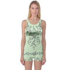 Illustration Of Butterflies And Flowers Ornament On Green Background One Piece Boyleg Swimsuit
