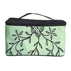 Illustration Of Butterflies And Flowers Ornament On Green Background Cosmetic Storage Case by BangZart