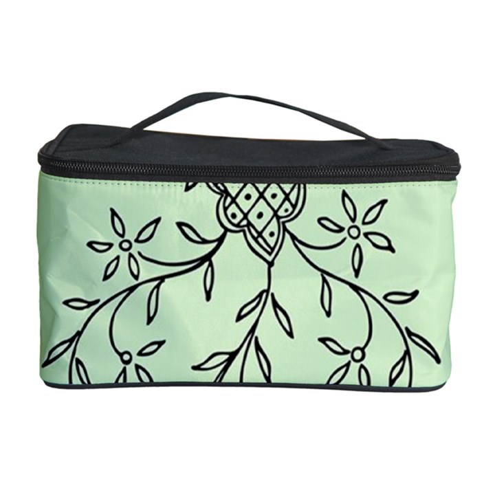 Illustration Of Butterflies And Flowers Ornament On Green Background Cosmetic Storage Case