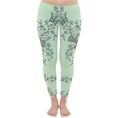 Illustration Of Butterflies And Flowers Ornament On Green Background Classic Winter Leggings