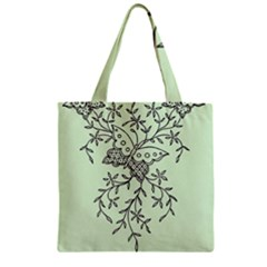 Illustration Of Butterflies And Flowers Ornament On Green Background Zipper Grocery Tote Bag by BangZart