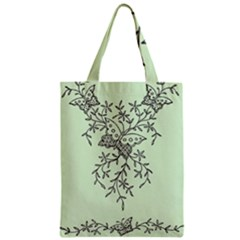 Illustration Of Butterflies And Flowers Ornament On Green Background Zipper Classic Tote Bag by BangZart