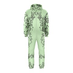 Illustration Of Butterflies And Flowers Ornament On Green Background Hooded Jumpsuit (kids)
