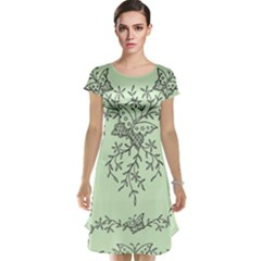 Illustration Of Butterflies And Flowers Ornament On Green Background Cap Sleeve Nightdress