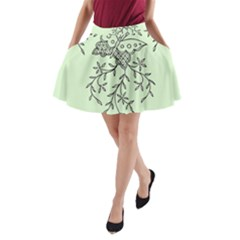 Illustration Of Butterflies And Flowers Ornament On Green Background A Line Pocket Skirt