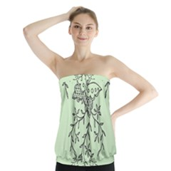 Illustration Of Butterflies And Flowers Ornament On Green Background Strapless Top