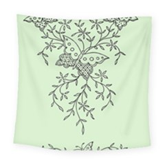 Illustration Of Butterflies And Flowers Ornament On Green Background Square Tapestry (large)