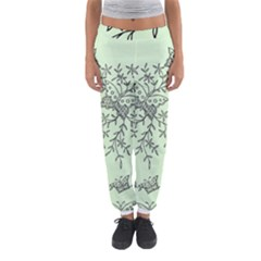 Illustration Of Butterflies And Flowers Ornament On Green Background Women s Jogger Sweatpants