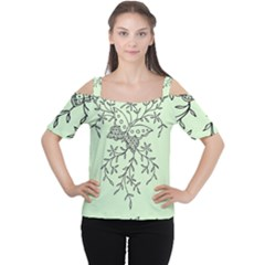 Illustration Of Butterflies And Flowers Ornament On Green Background Women s Cutout Shoulder Tee