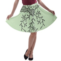Illustration Of Butterflies And Flowers Ornament On Green Background A Line Skater Skirt