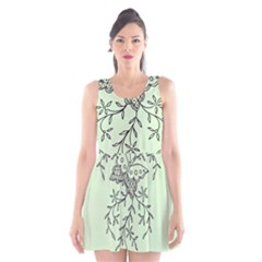 Illustration Of Butterflies And Flowers Ornament On Green Background Scoop Neck Skater Dress