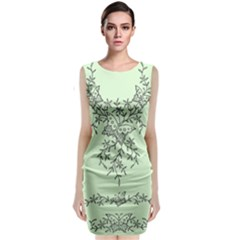 Illustration Of Butterflies And Flowers Ornament On Green Background Classic Sleeveless Midi Dress