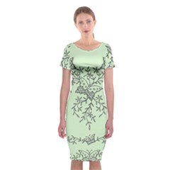 Illustration Of Butterflies And Flowers Ornament On Green Background Classic Short Sleeve Midi Dress