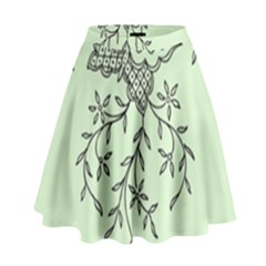 Illustration Of Butterflies And Flowers Ornament On Green Background High Waist Skirt by BangZart