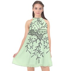 Illustration Of Butterflies And Flowers Ornament On Green Background Halter Neckline Chiffon Dress