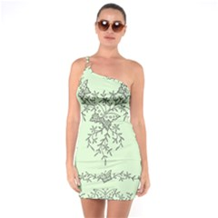 Illustration Of Butterflies And Flowers Ornament On Green Background One Soulder Bodycon Dress
