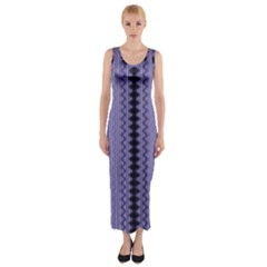 Zig Zag Repeat Pattern Fitted Maxi Dress