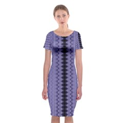 Zig Zag Repeat Pattern Classic Short Sleeve Midi Dress