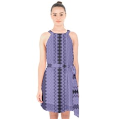 Zig Zag Repeat Pattern Halter Collar Waist Tie Chiffon Dress by BangZart