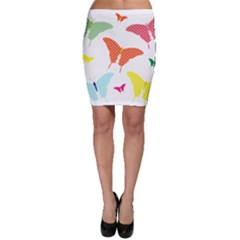 Beautiful Colorful Polka Dot Butterflies Clipart Bodycon Skirt