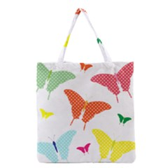 Beautiful Colorful Polka Dot Butterflies Clipart Grocery Tote Bag by BangZart